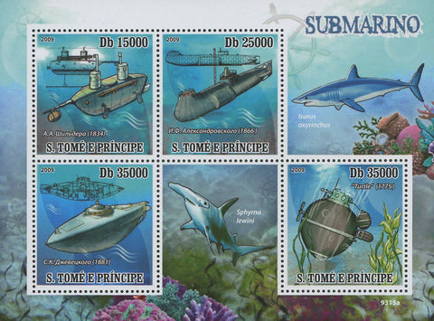 Submarines Souvenir Sheet of 4 Stamps Mint NH