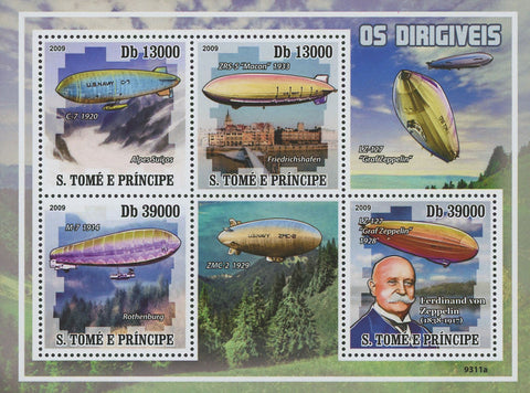 Airship Dirigible Souvenir Sheet of 4 Stamps Mint NH