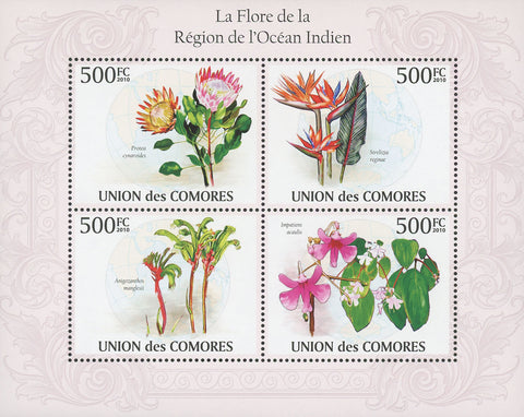 Indian Ocean Flora Flowers Souvenir Sheet of 4 Stamps Mint NH