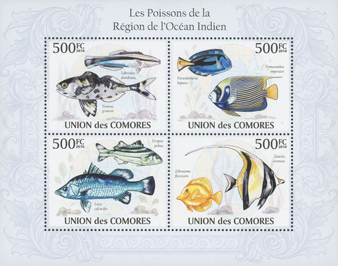 Indian Ocean Fish Souvenir Sheet of 4 Stamps Mint NH