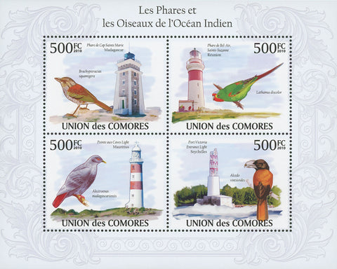Indian Ocean Lighthouses and Birds Souvenir Sheet of 4 Stamps Mint NH