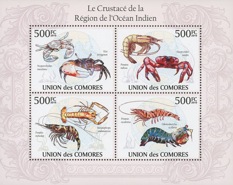 Indian Ocean Crustacean Souvenir Sheet of 4 Stamps Mint NH