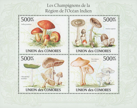 Indian Ocean Mushrooms Souvenir Sheet of 4 Stamps Mint NH