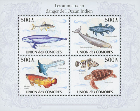 Indian Ocean Endangered Animals Souvenir Sheet Mint NH