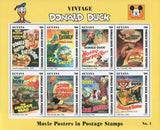 Guyana Disney Donald Movie Posters Souvenir Sheet of 8 Stamps Mint NH