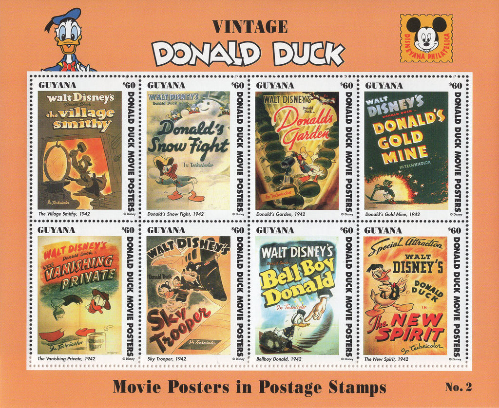 Guyana Disney Vintage Donald Duck Souvenir Sheet of 8 Stamps Mint NH