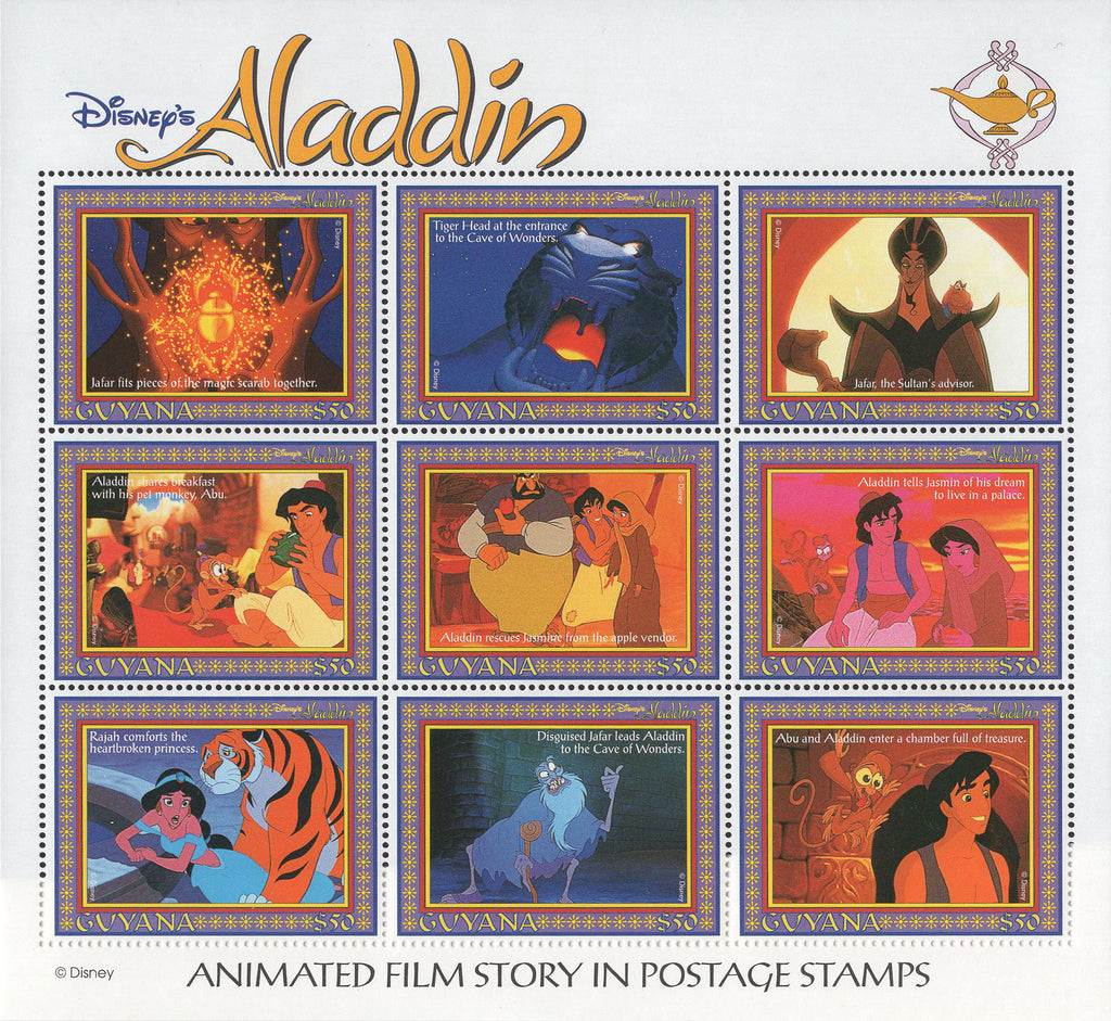 Guyana Aladdin Disney Souvenir Sheet of 9 Stamps Mint NH