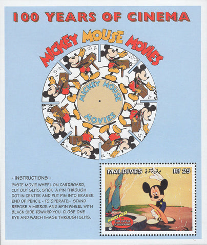 Maldives 100 Years of Cinema Disney Mickey Mouse Movies Souv. Sheet MNH