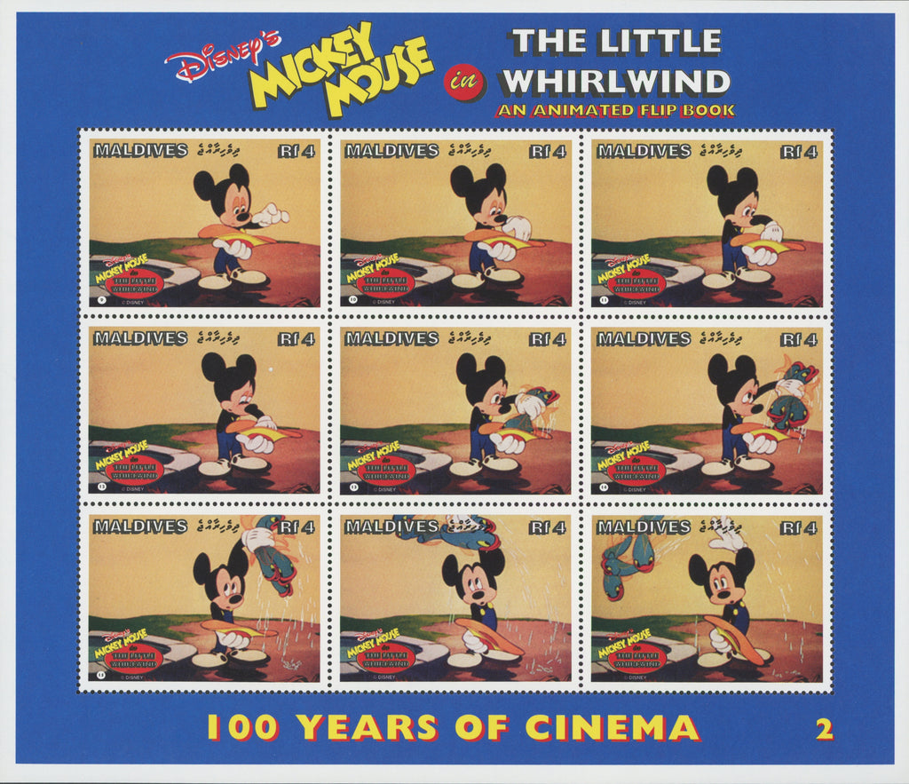 Maldives Disney Mickey Mouse The Little Whirlwind 2 Souv. of 9 Stamps MNH