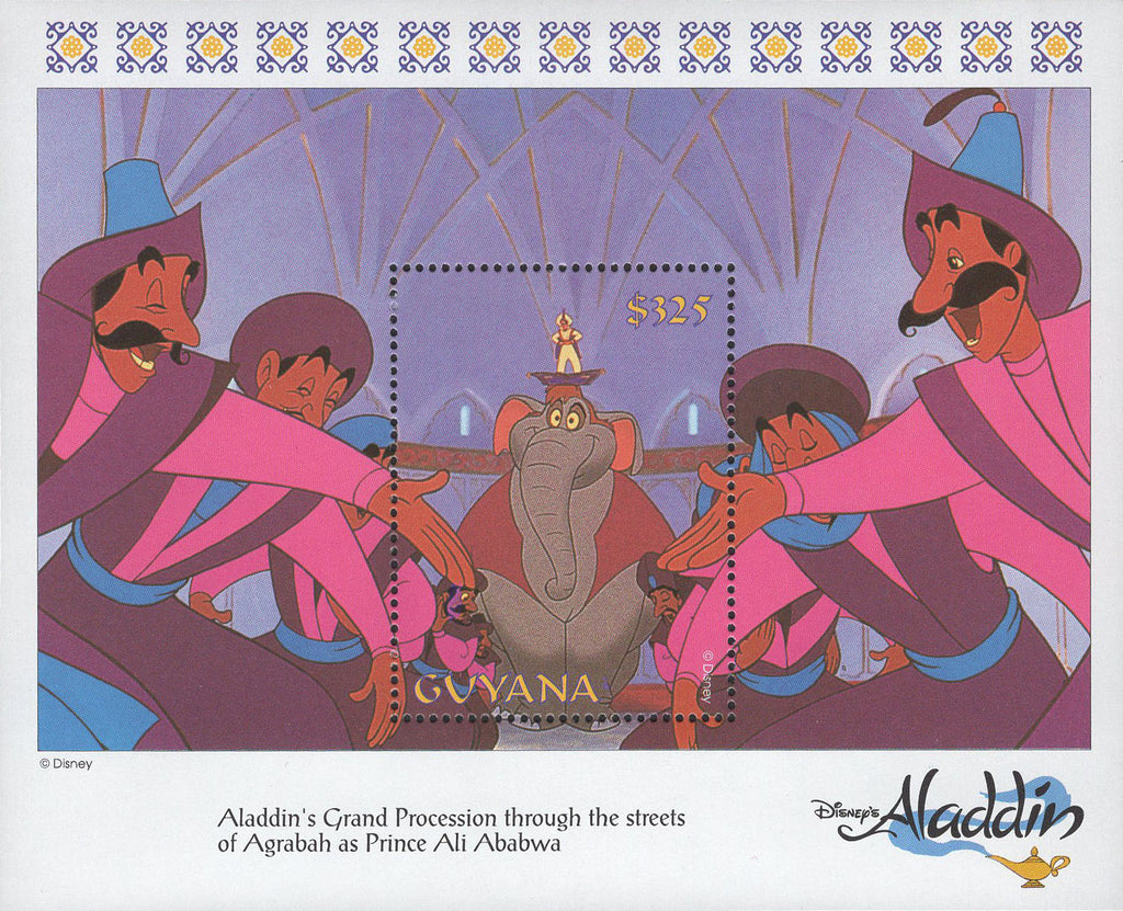 Guyana Aladdin's Procession Elephant Disney Souvenir Sheet Mint NH