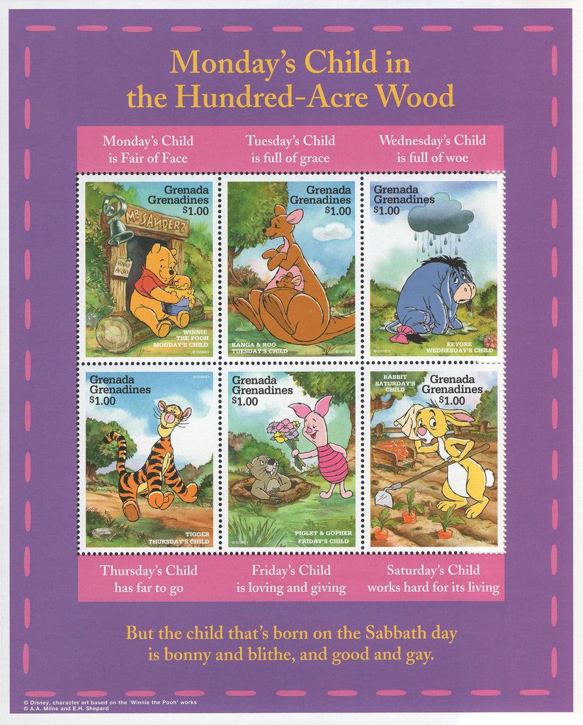 Grenada Monday's Child Winnie the Pooh Souvenir Sheet of 6 Stamps MNH