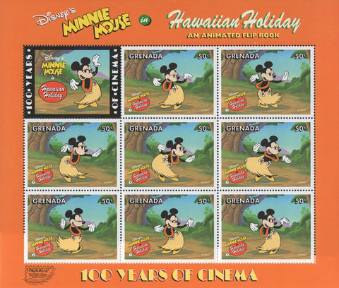 Grenada Disney Minnie Mouse Hawaiian Holiday Souvenir Sheet of 8 Stamps MNH
