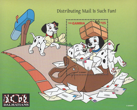 Gambia 101 Dalmatians Mail Fun Souvenir Sheet Mint NH