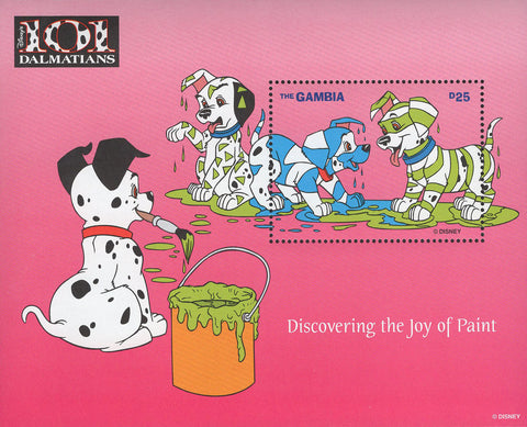 Gambia 101 Dalmatians Discovering Paint Disney Souvenir Sheet Mint NH