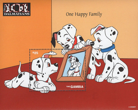 Gambia 101 Dalmatians Happy Family Souvenir Sheet Mint NH