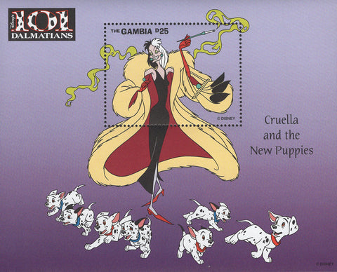 Gambia 101 Dalmatians Cruella New Puppies Disney Souvenir Sheet Mint NH