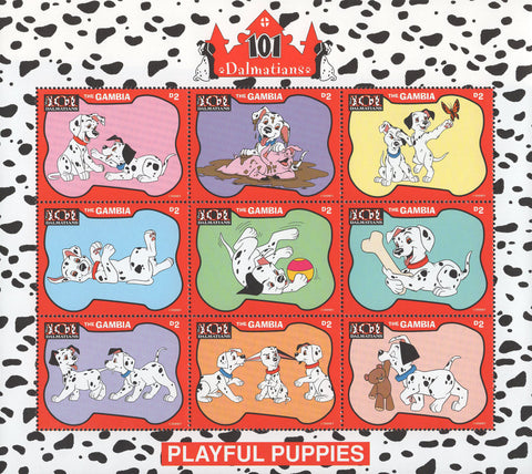 Gambia 101 Dalmatians Playful Puppies Souvenir Sheet of 9 Stamps MNH