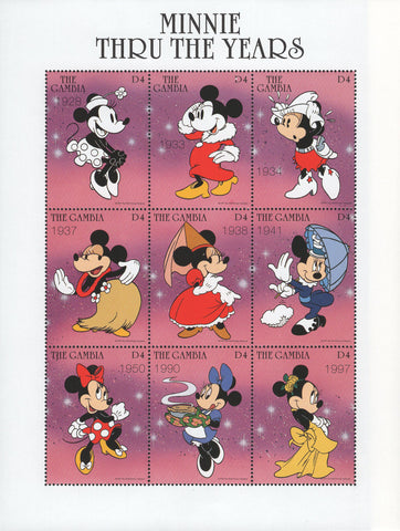Gambia Minnie Thru The Years Souvenir Sheet of 9 Stamps MNH