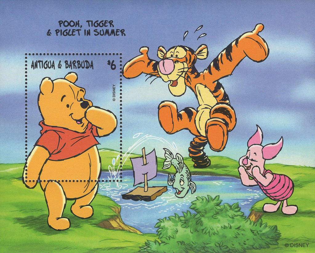 Antigua Pooh Tiger Piglet In Summer Souvenir Sheet Mint NH