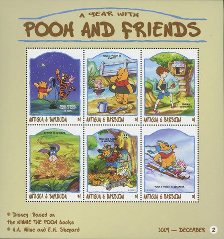 Disney Stamp a Year with Pooh & Friends Souvenir Sheet of 6 MNH