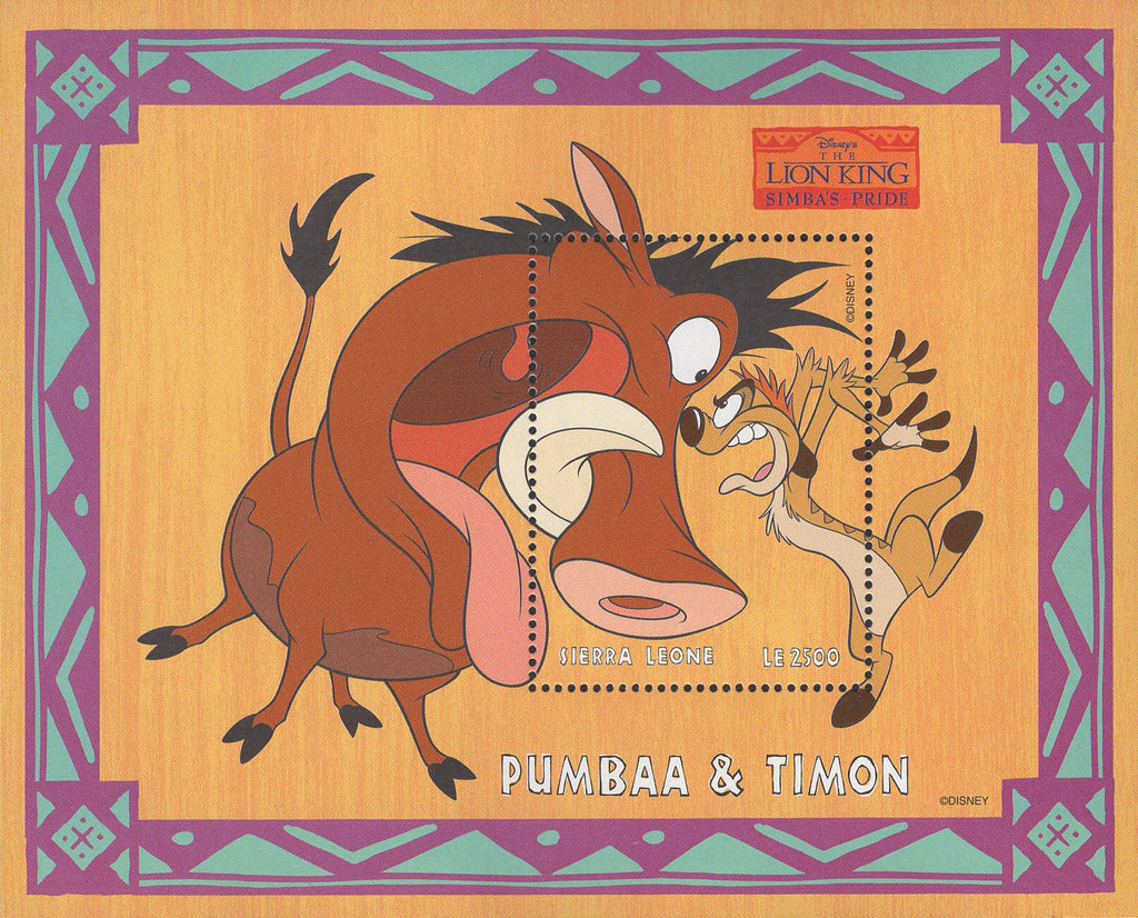 Sierra Leone Disney Lion King Pumbaa & Timon Souv. Sheet MNH