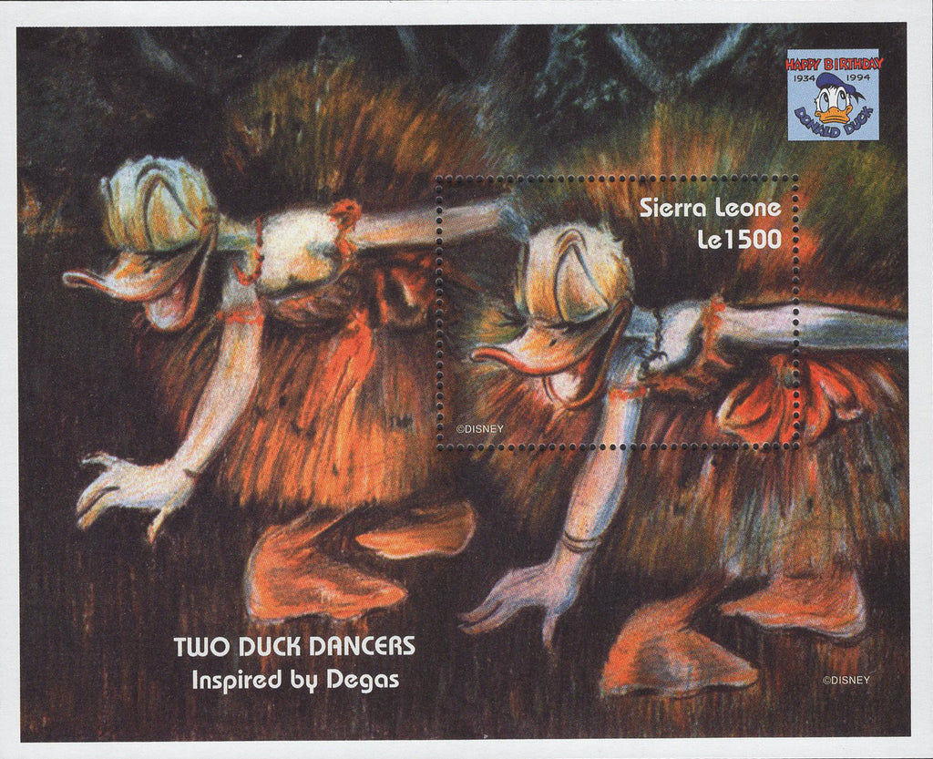 Sierra Leone two Ducks Dancers Donald Duck Painters Painters Degas Souv. Sheet M