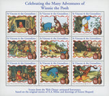 Celebrating the Many Adventures of Winnie the Pooh Souv. of 9 Stamp MNH
