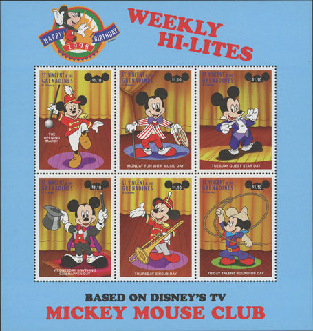 Disney Mickey Mouse Club Souv. Sheet of 6 Stamps MNH
