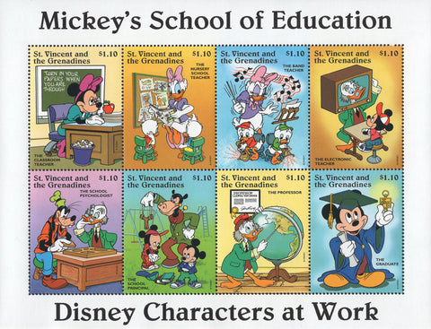 St. Vincent Disney Mickey's School of Education Souv. Sheet of 8 Stamps MNH