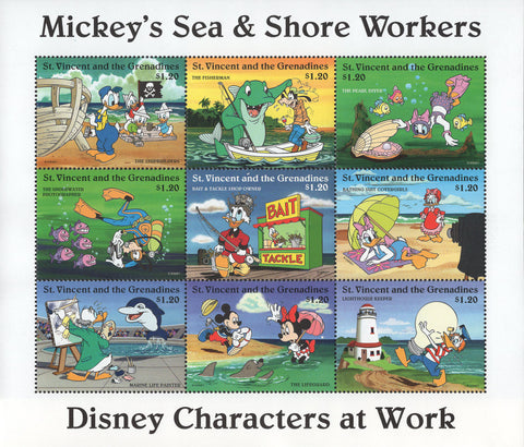 Mickey's Sea & Shore Workers Boat Shark Fish Souv. of 8 MNH