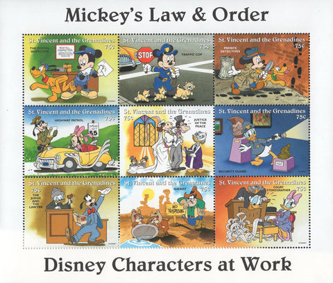 St. Vincent Mickey's Law & Order Police Cop Guard Donald Duck Souv. of 8 MNH