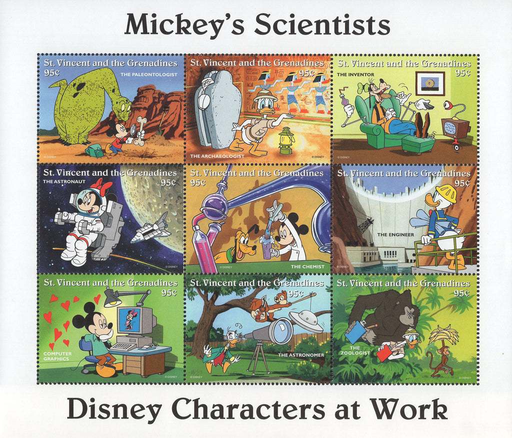 St. Vincent Mickey's Scientists Astronaut Inventor Engineer Chemist Souv. of 8 M