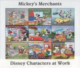 St. Vincent Disney Mickey's Merchants Minnie Donald Duck Car Stamps Souv. of 8 M