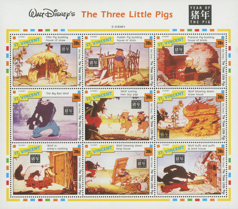 St. Vincent Disney the Three Little Pigs Year of the Pig Souv. of 9 Stamps MNH