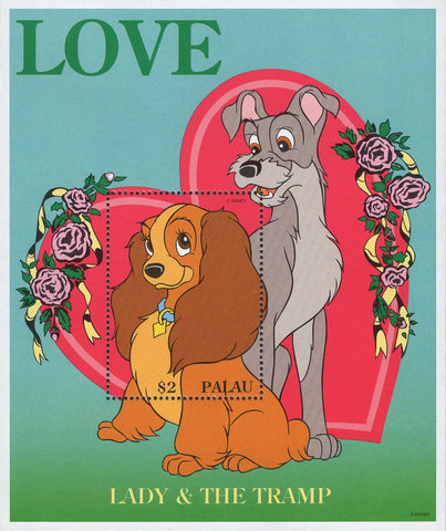 Palau Disney Lady and the Tramp LOVE Souvenir Sheet MNH