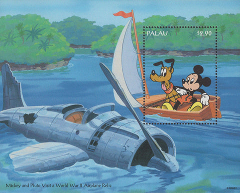 Palau Disney Mickey & Pluto Visit a World War 2 Airplane Relic Souv. MNH