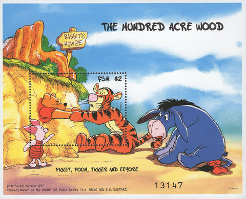 FSM Disney The Hundred Acre Wood Piglet Pooh Tiger Eeyore Souv. MNH