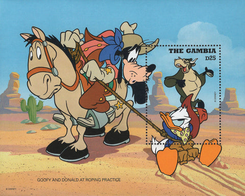 Gambia Goofy And Donald At Roping Practice Souvenir Sheet Mint NH