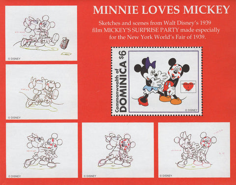 Dominica Minnie Loves Mickey Sketches Souvenir Sheet Mint NH