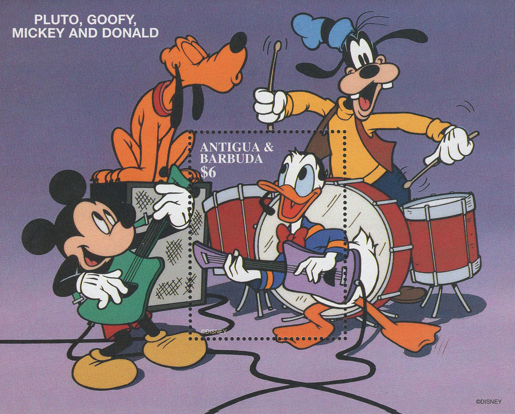 Antigua Pluto Goofy Mickey Donald Music Band Souvenir Sheet MNH