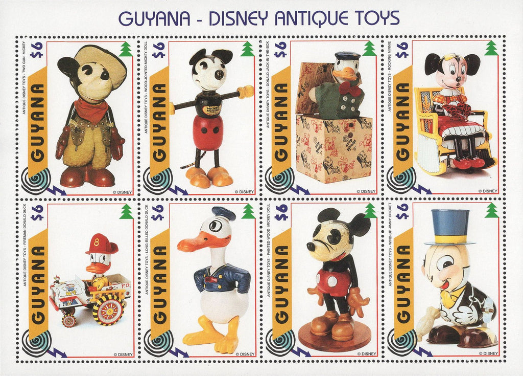 Guyana Disney Antique Toys Mickey Donald Minnie Sov. Sheet of 8 Stamps MNH