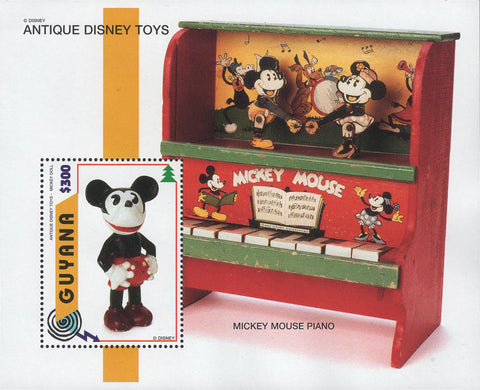 Guyana Antique Disney Toys Mickey Mouse Piano Souvenir Sheet MNH