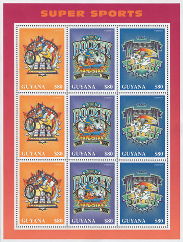 Guyana Disney Super Sports Hockey Souvenir Sheet of 9 Stamps Mint NH