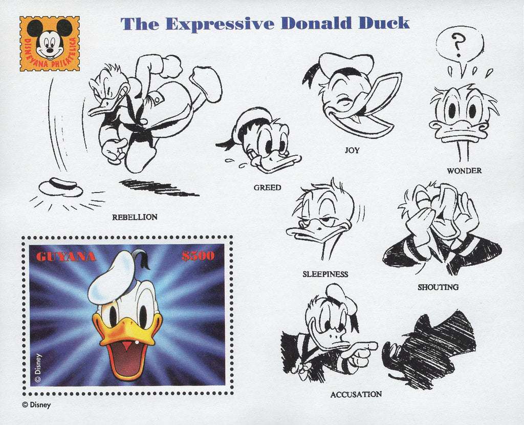 Guyana The Expressive Donald Duck Joy Wonder Greed Souvenir Sheet MNH
