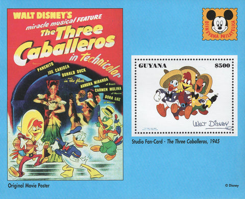 The Three Caballeros Walt Disney Souvenir Sheet Mint NH