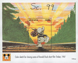 Color Sketch Donald Duck Timber Film Disney Imperforated Sov. Sheet MNH