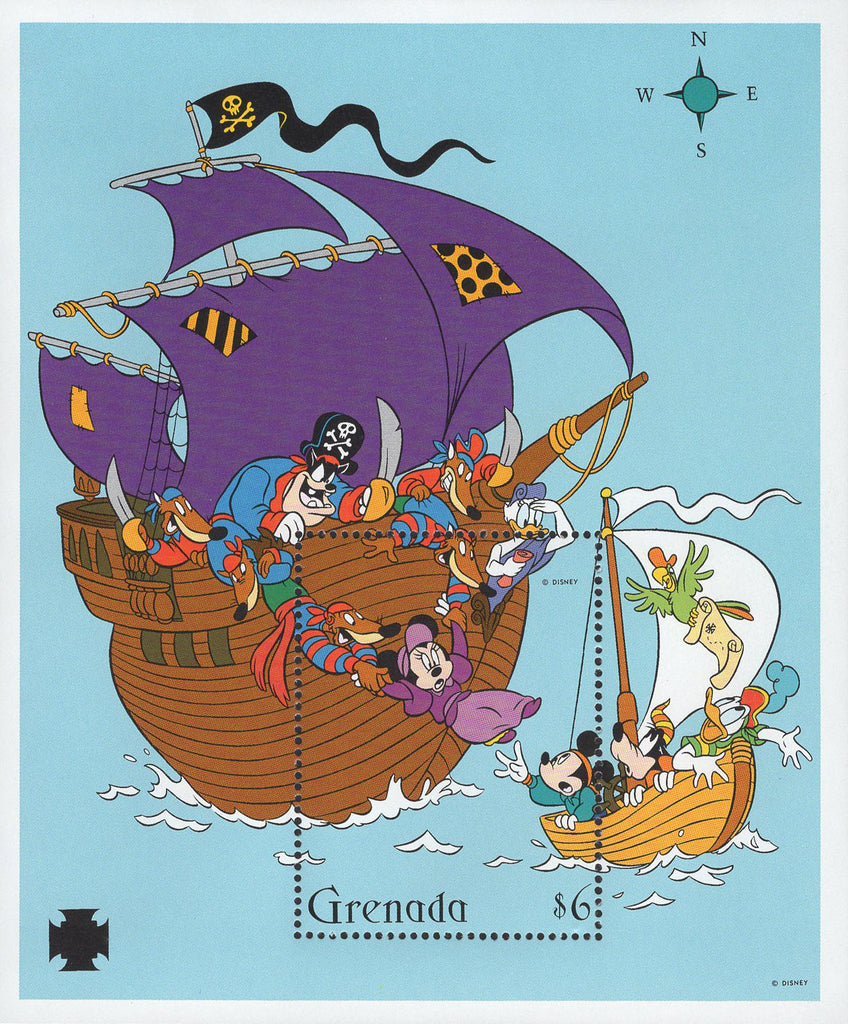 Grenada Saving Minnie Pirate Ship Pete Mickey Goofy Donald Sov. Sheet MNH