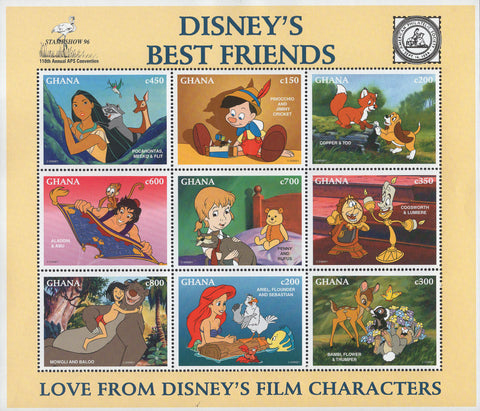 Guyana Disney's Best Friends Love From Characters Sov. Sheet of 9 Stamps MNH