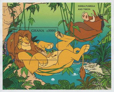 Ghana Simba Pumbaa And Timon Lion King Souvenir Sheet Mint NH