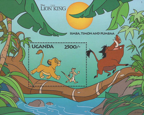 Simba Timon And Pumbaa Lion King Disney Souvenir Sheet Mint NH